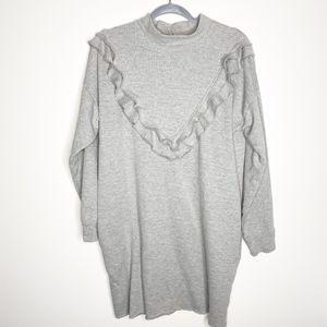Zara Trafaluc Large Mock Neck Ruffle Sweater Dress